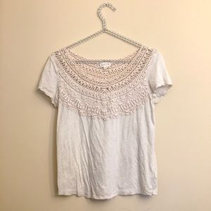 Anthro Meadow Rue Lace Detail Top